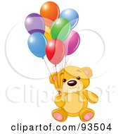 Royalty Free RF Clipart Illustration Of A Birthday Teddy Bear With Colorful Party Balloons