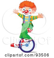 Cute Party Clown Boy Riding A Unicycle