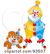 Royalty Free RF Clipart Illustration Of A Cute Party Clown And Puppy Dog by Pushkin