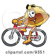 Hard Hat Mascot Cartoon Character Riding A Bicycle