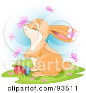 Royalty Free RF Clipart Illustration Of A Butterfly Landing On An Easter Bunnys Nose