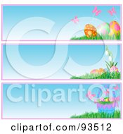 Royalty Free RF Clipart Illustration Of A Digital Collage Of Butterfly Basket And Easter Egg Website Banners by Pushkin