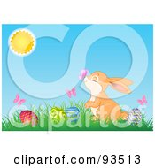 Royalty Free RF Clipart Illustration Of A Bunny With Butterflies And Easter Eggs In Grass Under The Sun
