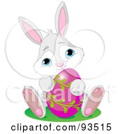 Royalty Free RF Clipart Illustration Of An Adorable Gray Bunny With A Pink And Green Easter Egg