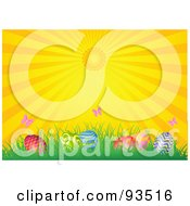 Royalty Free RF Clipart Illustration Of An Easter Background Of The Sun Shining Down On Butterflies And Eggs In Grass