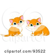 Royalty Free RF Clipart Illustration Of Two Cute Ginger Kittens