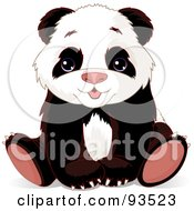 Royalty Free RF Clipart Illustration Of An Adorable Baby Panda Bear Sitting With His Paws Between His Legs