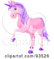 Royalty Free RF Clipart Illustration Of A Purple Unicorn With Sparkly Hair And Hooves by Pushkin
