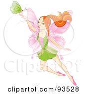 Royalty Free RF Clipart Illustration Of A Red Haired Spring Fairy With A Green Butterfly