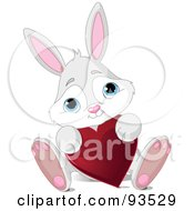 Royalty Free RF Clipart Illustration Of An Adorable Gray Bunny Sitting With A Red Heart