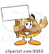 Clipart Picture Of A Hard Hat Mascot Cartoon Character Holding A Blank Sign
