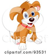 Royalty Free RF Clipart Illustration Of An Adorable Puppy Dog Sitting And Smiling