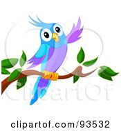 Royalty Free RF Clipart Illustration Of A Perched Purple And Blue Bird Waving by Pushkin