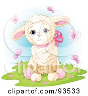 Poster, Art Print Of Cute Baby Lamb Surrounded By Pink Butterflies
