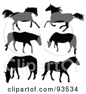 Digital Collage Of Six Running And Grazing Horse Silhouettes