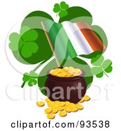 Royalty Free RF Clipart Illustration Of An Irish Flag With St Patricks Day Clovers And A Pot Of Gold by Pushkin