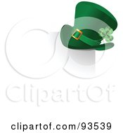 Royalty Free RF Clipart Illustration Of A Green St Patricks Day Leprechaun Hat On The Corner Of A Shadow Over White by Pushkin
