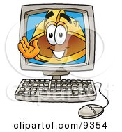 Clipart Picture Of A Hard Hat Mascot Cartoon Character Waving From Inside A Computer Screen by Toons4Biz