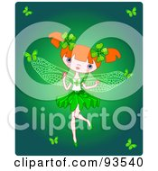 Royalty Free RF Clipart Illustration Of A St Patricks Day Fairy With Butterflies And Clovers