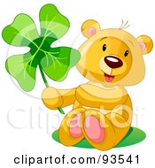 Royalty Free RF Clipart Illustration Of A St Patricks Day Teddy Bear Sitting And Holding A Clover