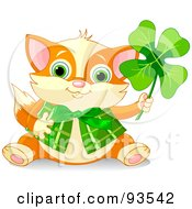 Royalty Free RF Clipart Illustration Of A Marmalade St Patricks Day Cat Holding Up A Clover And Wearing A Vest