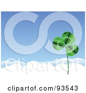 Royalty Free RF Clipart Illustration Of A St Patricks Day Clover Against A Blue Sky With White Clouds