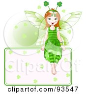Royalty Free RF Clipart Illustration Of A Happy St Patricks Day Fairy Girl Sitting On A Blank Sign