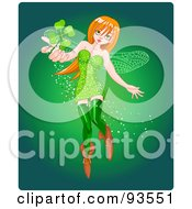 Royalty Free RF Clipart Illustration Of A St Patricks Day Pixie Woman Holding Out A Clover