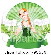 Royalty Free RF Clipart Illustration Of A Beautiful Beer Maiden Holding Green Beers Over A Blank St Paddys Day Banner