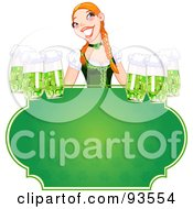 Royalty Free RF Clipart Illustration Of A Beautiful Beer Maiden Holding Green Beers Over A Blank St Patricks Day Sign