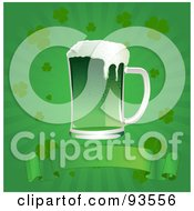 Royalty Free RF Clipart Illustration Of A Green St Patricks Day Beer Over A Blank Banner On A Green Clover Burst Background by Pushkin