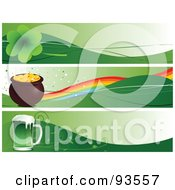 Royalty Free RF Clipart Illustration Of A Digital Collage Of Clover Pot Of Gold And St Patricks Day Beer Site Banners