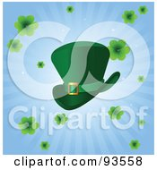 Royalty Free RF Clipart Illustration Of A Green St Patricks Day Leprechaun Hat With Clovers On A Blue Burst Background by Pushkin