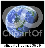 Royalty Free RF Clipart Illustration Of A 3d Globe Centered On North America As Seen From Space On Black