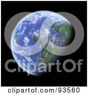 3d Globe, Centered On Africa, As Seen From Space, On Black