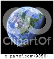 Royalty Free RF Clipart Illustration Of A 3d Globe Centered On Asia As Seen From Space On Black