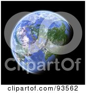 Royalty Free RF Clipart Illustration Of A 3d Globe Centered On The Near East As Seen From Space On Black