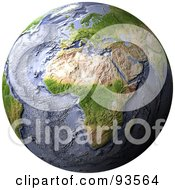 Royalty Free RF Clipart Illustration Of A 3d Shaded Relief Globe Of Africa With Shaded Ocean Floor