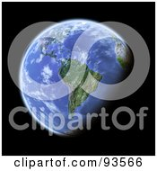 Royalty Free RF Clipart Illustration Of A 3d Globe Centered On South America As Seen From Space On Black