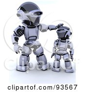 3d Silver Robot Patting His Child On The Head