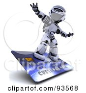 Royalty Free RF Clipart Illustration Of A 3d Silver Robot Riding On A Blue Credit Card by KJ Pargeter
