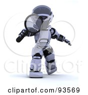 Royalty Free RF Clipart Illustration Of A 3d Silver Robot Walking Forward With A Magnifying Glass