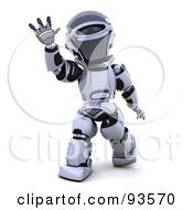 Royalty Free RF Clipart Illustration Of A 3d Silver Robot Waving