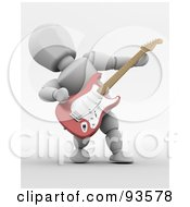 3d White Character Leaning Back While Playing An Electric Guitar by KJ Pargeter