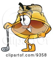 Hard Hat Mascot Cartoon Character Leaning On A Golf Club While Golfing by Toons4Biz