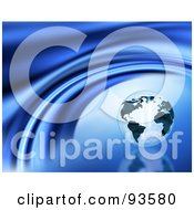 Royalty Free RF Clipart Illustration Of A Shiny Marble Globe On A Reflective Blue Curve Background