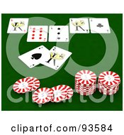 Royalty Free RF Clipart Illustration Of Poker Chips And Playing Cards On A Green Casino Table by KJ Pargeter