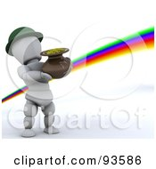 3d White Character Leprechaun Carrying A Pot Of Gold At The End Of A Rainbow
