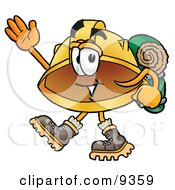 Clipart Picture Of A Hard Hat Mascot Cartoon Character Hiking And Carrying A Backpack by Toons4Biz