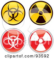 Digital Collage Of Radiation And Biohazard Icon App Buttons